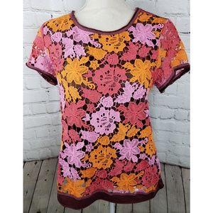 Sundance Maroon Floral Crochet Blouse